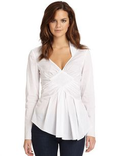 Catherine Malandrino Pleated-Peplum Blouse
