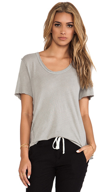 James Perse Inside Out Linen Jersey Tee in Gray