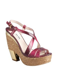 Miu Miu peony snake embossed leather platform sandals
