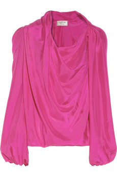 Lanvin Draped washed-silk blouse