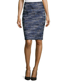 Lafayette 148 New York Slim Tweed Pencil Skirt, Sky Multi