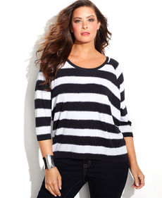 MICHAEL Michael Kors Plus Size Raglan-Sleeve Striped Top