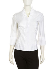 Go Silk Ruffle Stretch Knit Blouse, White