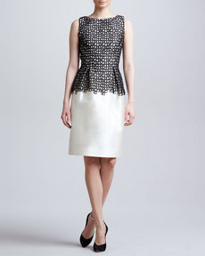 Lela Rose Lace-Bodice Sheath Dress