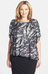 Alex Evenings Print Triple Tier Asymmetrical Blouse (Plus Size)
