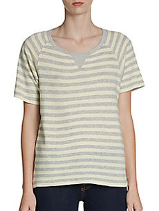 French Connection Short-Sleeve Striped Sweatshirt
