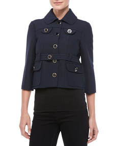 Michael Kors Pressed Twill Cropped Jacket