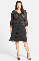 Alex Evenings Shirred Lace Bodice Dress (Plus Size)