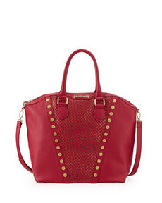Betsey Johnson Rosette Stud V Trim Tote Bag, Berry