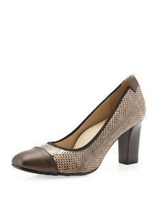 Taryn Rose Chloris Cap-Toe Pump, Taupe