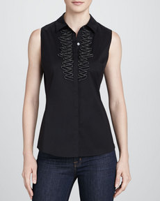 Lafayette 148 New York Jane Sleeveless Ruffle-Bib Blouse