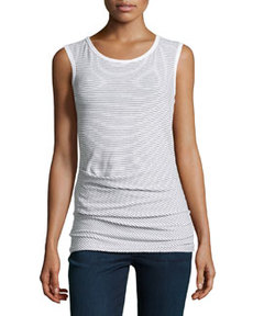 James Perse Sleeveless Striped Stretch-Knit Top, White