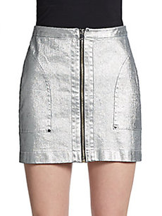 Robert Rodriguez Laminated Denim Mini Skirt