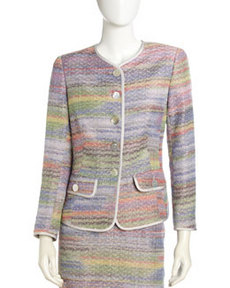 Lafayette 148 New York Contrast-Piping Tweed Jacket
