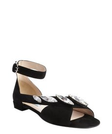Prada black suede crystal studded anklestrap sandals