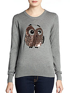 French Connection Beaded Owl Crewneck Sweater