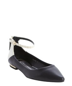 Dolce Vita black and white leather 'Angie' ankle strap flats