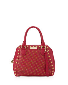 Betsey Johnson Rosette Stud Two-Tone Bowler Bag, Berry