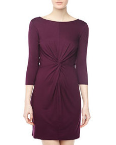Three Dots Knot-Front Sheath Dress, Wine