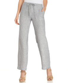 Charter Club Petite Pinstriped Linen Drawstring Ankle Pants