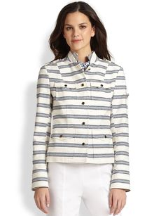 Tory Burch Striped Shrunken Sgt. Pepper Jacket