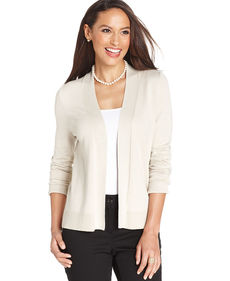 Charter Club Long-Sleeve Solid Open Cardigan