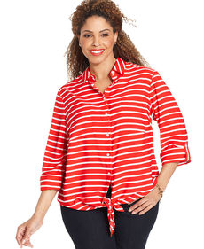 Jones New York Signature Plus Size Striped Tie-Front Blouse