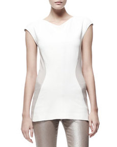 Contour Colorblock Jersey Tee, Cream/Tan   Contour Colorblock Jersey Tee, Cream/Tan
