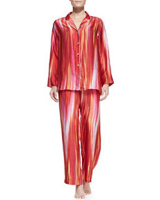 Hayworth Notch-Collar Pajama Set   Hayworth Notch-Collar Pajama Set