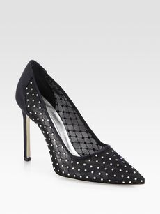 Manolo Blahnik Tre BB Crystal-Coated Satin & Mesh Pumps
