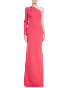 Escada One-Shoulder Long-Sleeve Gathered Gown, Blossom