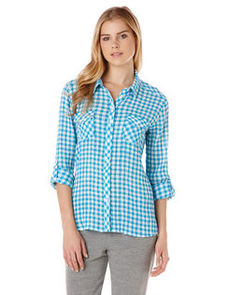 crinkle gingham two pocket shirt