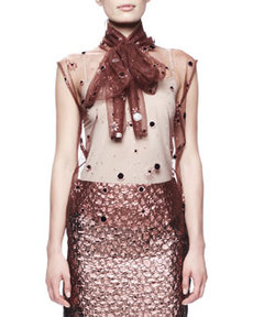 Lanvin Paillette Embroidered Tulle Blouse, Brown