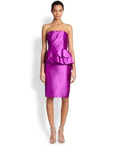 Badgley Mischka Strapless Peplum Dress