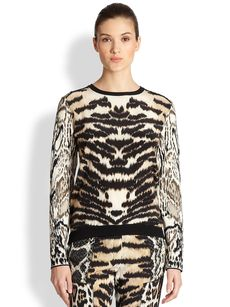 Roberto Cavalli Mixed Animal-Print Silk Pullover