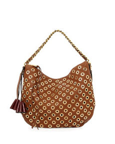Nomad Quilted Grommet Hobo Bag, Brown   Nomad Quilted Grommet Hobo Bag, Brown