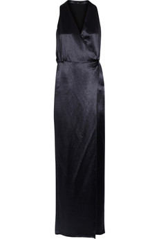 Tibi Serpentine wrap-effect satin gown