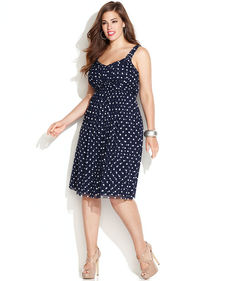 INC International Concepts Plus Size Polka-Dot Twist-Front Dress