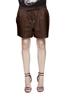 Leather Drawstring Wide Shorts   Leather Drawstring Wide Shorts