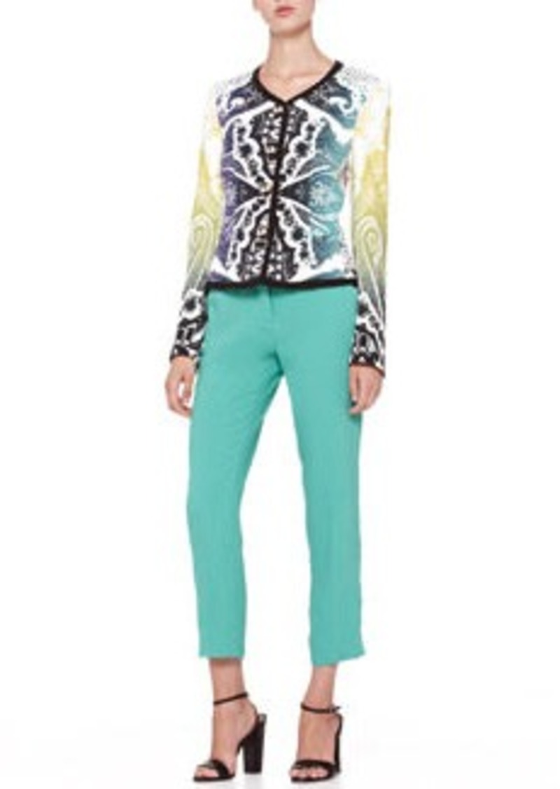Etro Cady Straight-Leg Capri Pants, Green