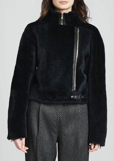 J Brand Ready to Wear Kay Fur Zip Biker Jacket