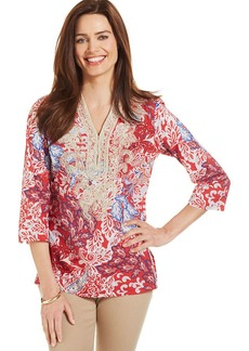 Charter Club Petite Three-Quarter-Sleeve Embroidered Tunic Top