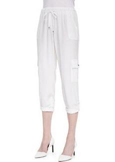 Elie Tahari Ella Silk Cargo-Pocket Pants, White