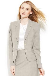 Calvin Klein Petite Two-Button Glen Plaid Blazer
