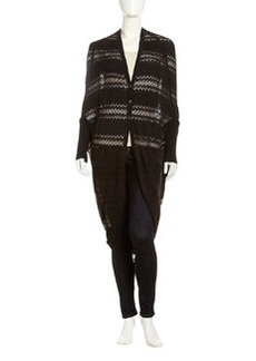 L.A.M.B. Striped Pointelle Cocoon Cardigan, Black