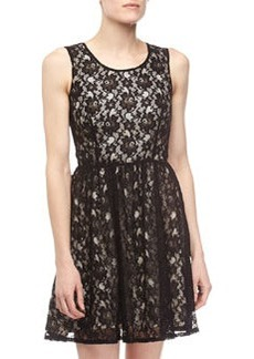 French Connection Lizzie Lace Dress, Black/Cream