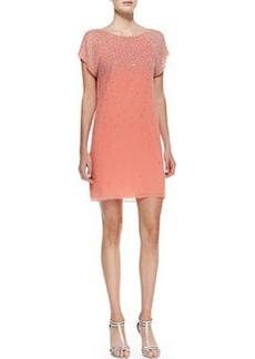Philly Beaded Chiffon Short-Sleeve Dress   Philly Beaded Chiffon Short-Sleeve Dress
