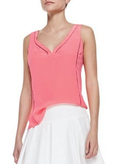Nanette Lepore Tiki Perforated-Trim Sleeveless Top