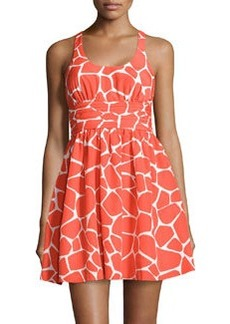 Susana Monaco Scoop-Neck Giraffe-Print Pleated Dress, Orange