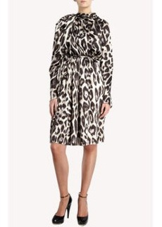 Lanvin Leopard Print Gathered Shoulder Dress